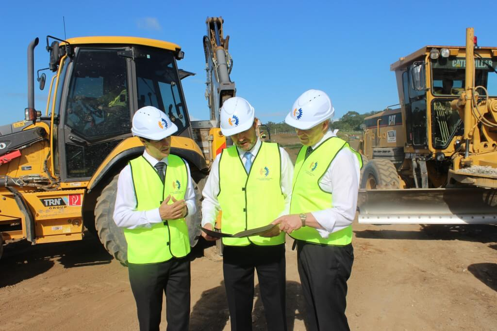 Dean Wright (Campbelltown Opportunity Hub employee), Minister Dominello, David Castledine, Laura Bradburn (Campbelltown Opportunity Hub employee) and Bryan Doyle at a construction site on the University of Western Sydney's Campbelltown campus.