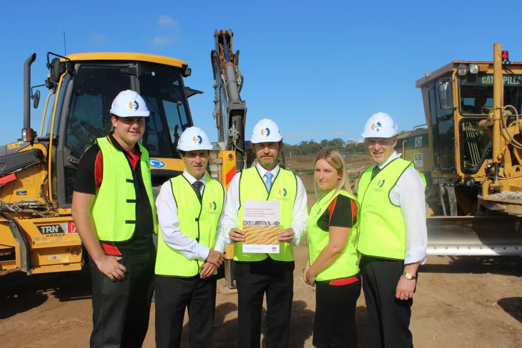 Minister Dominello, David Castledine and Bryan Doyle at a construction site on the University of Western Sydney's Campbelltown campus.